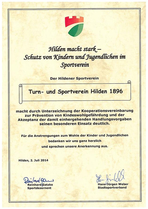 """Urkunde """"Hilden macht stark"""""""