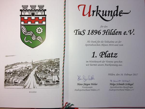 Tus96 Hilden erfolgreich beim Sportabzeichen